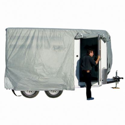 """Picture of ADCO SFS AquaShed (R) Gray Fabric/Poly Cover For 10' 1""""-12' Bumper Pull Horse Trailers 46002 01-3431"""