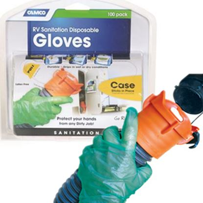 Picture of Camco  100-Pack One-Size Green Disposable Gloves 40285 02-1463