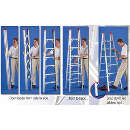 Picture of GP Logistics  6' Clear Anodized Aluminum Folding Step Ladder SLD-D6 03-0885