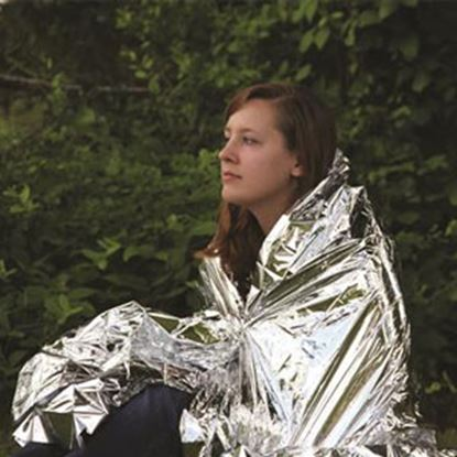 "Picture of Camco  52"" x 84"" Metallic Silver Mylar Emergency Blanket 51322 03-1469"