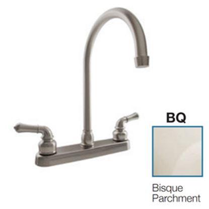 """Picture of Dura Faucet  Bisque Parchment w/Teapot Handles 8"""" Kitchen Faucet w/J-Spout DF-PK330HC-BQ 10-3814"""