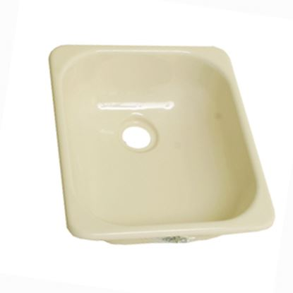 """Picture of Better Bath  12-3/4"""" X 15"""" Square Parchment ABS Plastic Outdoor Kitchen Sink 209351 10-5707"""