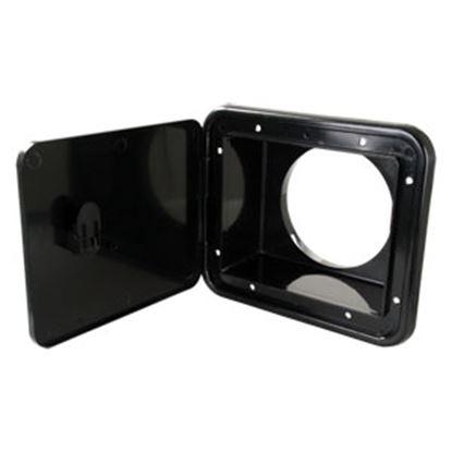 "Picture of JR Products  Black 5-7/8""RO Lockable Multi-Purpose Hatch Access Door L8D83-A 11-0066"