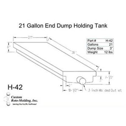 Picture of Custom Roto Molding  21 Gal End Dump Polyethylene Waste Holding Tank H-42 11-1030
