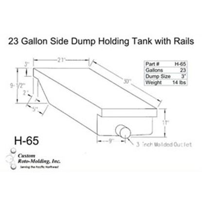 Picture of Custom Roto Molding  25 Gal End Dump Polyethylene Waste Holding Tank H-65 11-1038