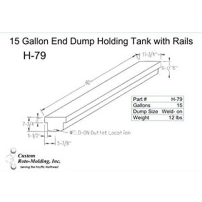 Picture of Custom Roto Molding  15 Gal End Dump Polyethylene Waste Holding Tank H-79 11-1042