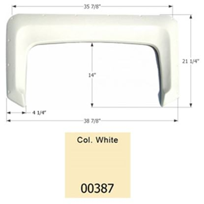"""Picture of Icon  Colonial White 38-7/8""""L x 21-1/4""""H Single Axle Universal Fender Skirt 00387 15-1603"""