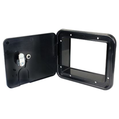 "Picture of JR Products  Black 5-7/8""RO Lockable Cable Hatch Access Door w/Key Lock E7133-A 19-1621"