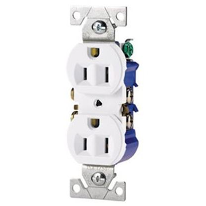 Picture of Cooper Wire  White 125VAC 15A Duplex Receptacle 270W 19-3815