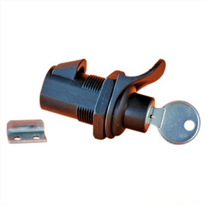 "Picture of RV Designer  Black 1"" Locking Push Button Compartment Lock L532 20-0003"