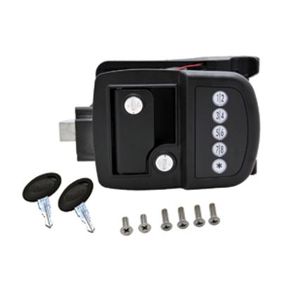 Picture of AP Products  Black Electric Paddle Type Access Door Latch w/Left Hand Hinges 013-530 20-5041