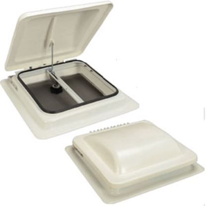 "Picture of MaxxAir  White 15-1/2""L x 14-3/4""W x 3.55""H Roof Vent Lid 00-335001 22-0443"