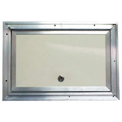"Picture of Interstate Metal  Colonial White 14"" x 18"" Aluminum Baggage Door w/ Cam Lock 22-0610 22-0610"