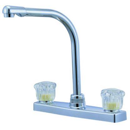 """Picture of Relaqua  Chrome w/Clear Knobs 8"""" Kitchen Faucet w/Hi-Arc Spout AK-8201SH-1C 69-7066"""