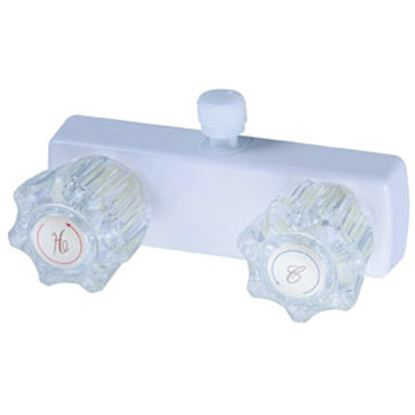 "Picture of Relaqua  4"" White Plastic Shower Valve w/Clear Knobs AL-4031W 69-7075"