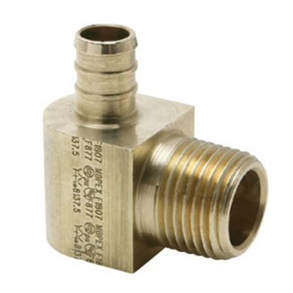 "Picture of BestPEX  1/2"" PEX x 1/2"" MPT Brass Fresh Water 90 Deg Elbow 51146 72-0829"