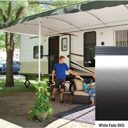 "Picture of Lippert Solera Destination White Fade 16'L X 9' 8""Ext Patio Awning w/Black Solera Shield V000334843 90-2161"
