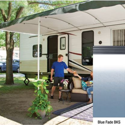 "Picture of Lippert Solera Destination Blue Fade Vinyl 16'L X 9' 8""Ext Patio Awning w/Black Solera Shield V000334865 90-2168"