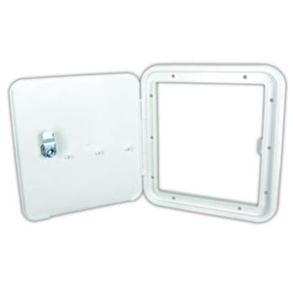 "Picture of JR Products  Polar White 6-7/8""RO Lockable Fuel Hatch Access Door 91122-A 96-2850"